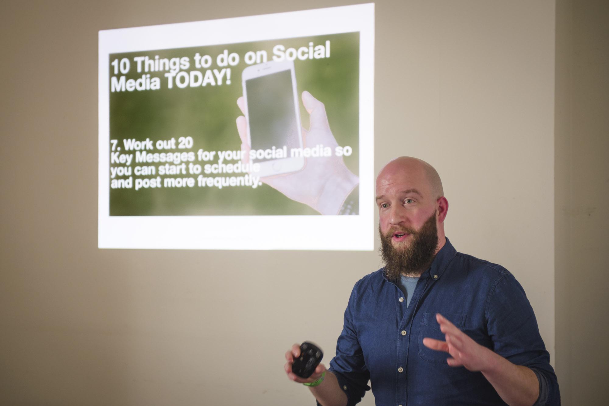 Gary Jones giving a talk on social media at the Leamington Business Show 2018