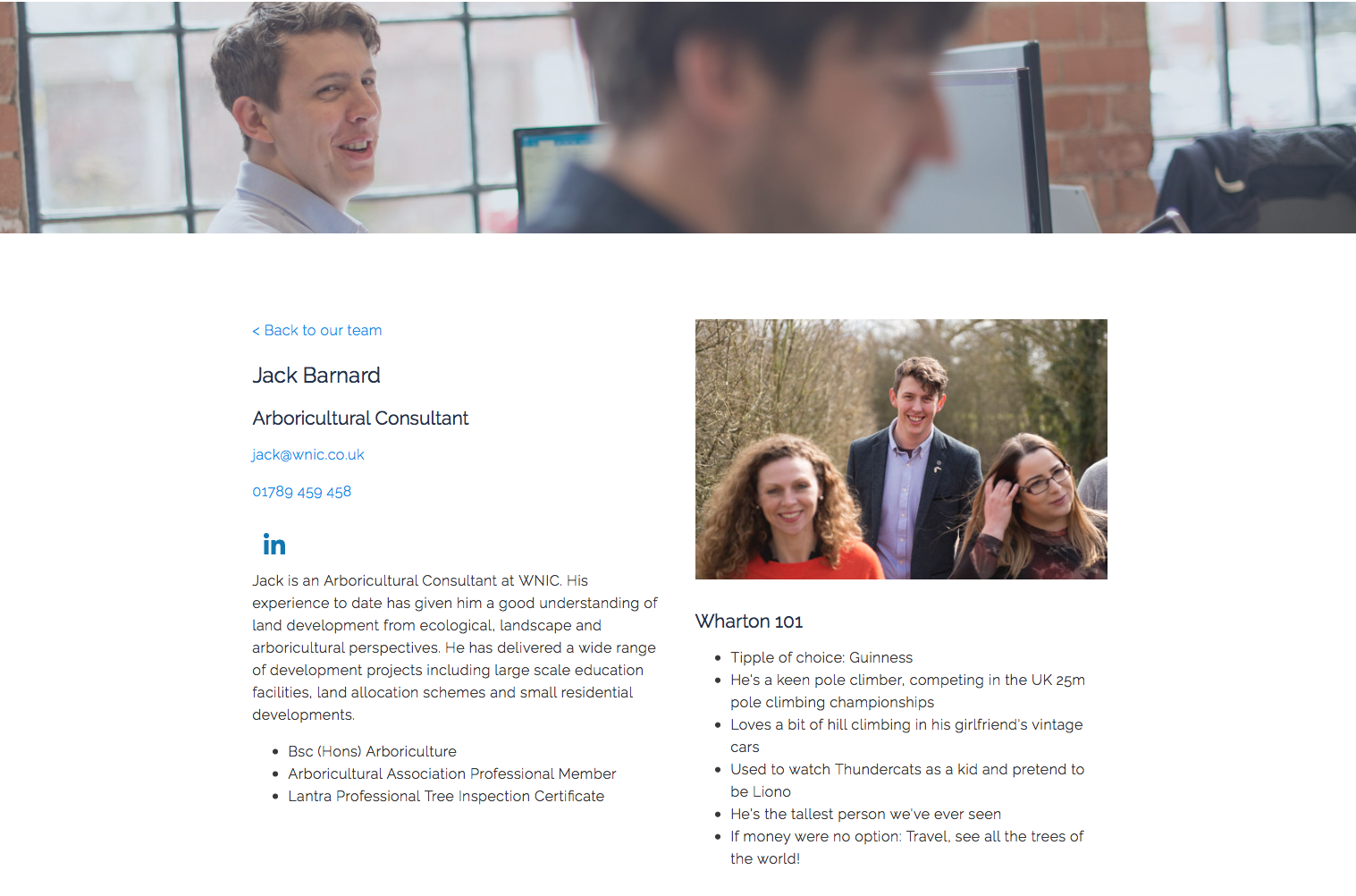 Jack Barnard at Wharton Natural Infrastructure Consultants. Each team member has their own page, showing professional information, personal info and my photos