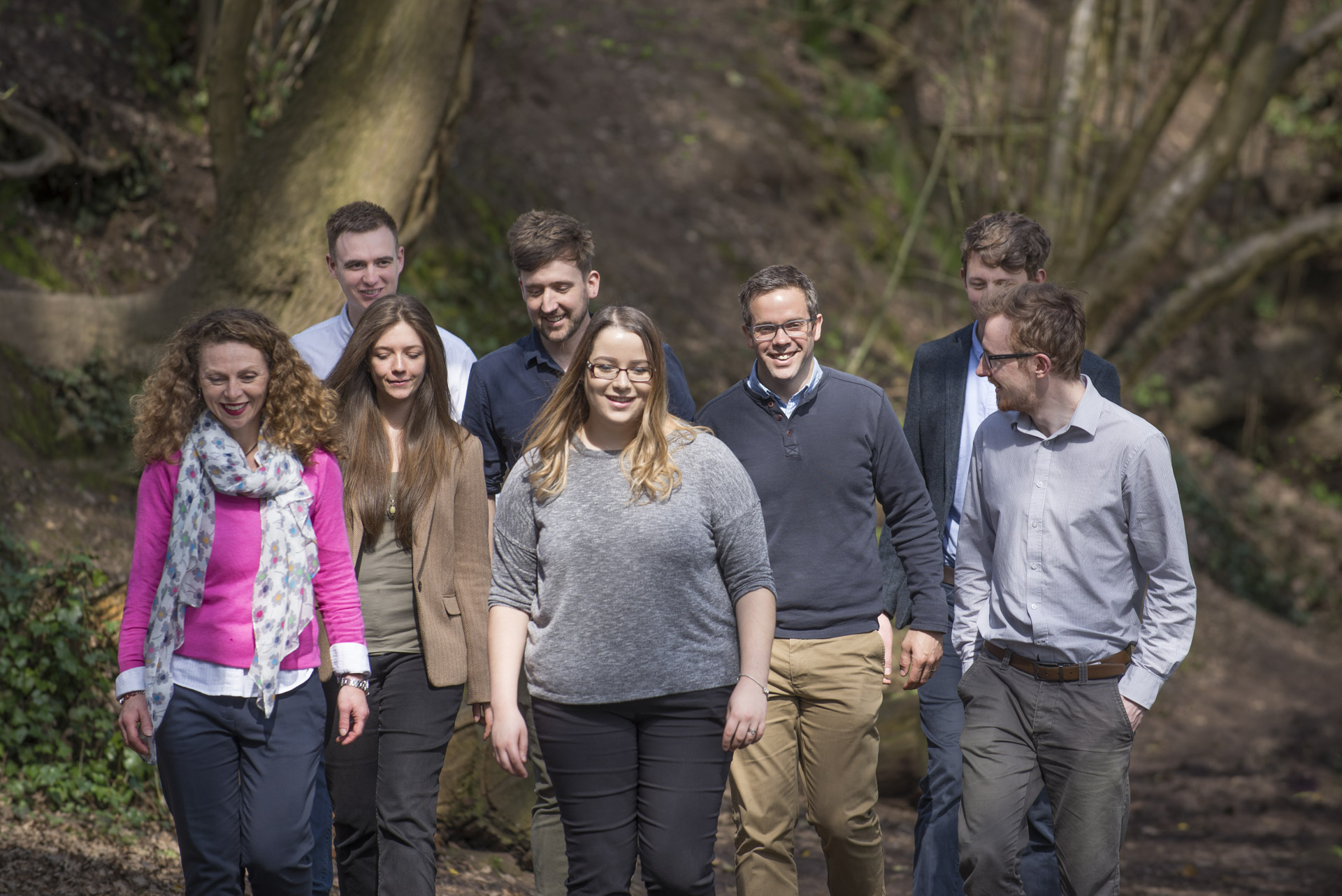 The Wharton team walking through a local nature reserve in Alcester, Warwickshire.